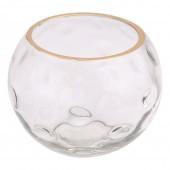 Vaso de Vidro Transparente com Detalhe Dourado