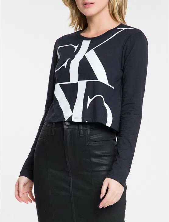 Blusa ML Crop Logo Meia Reat Calvin Klein