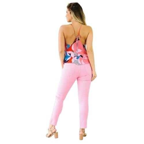 Blusa Morena Rosa Decote V Alça Amarração Costas