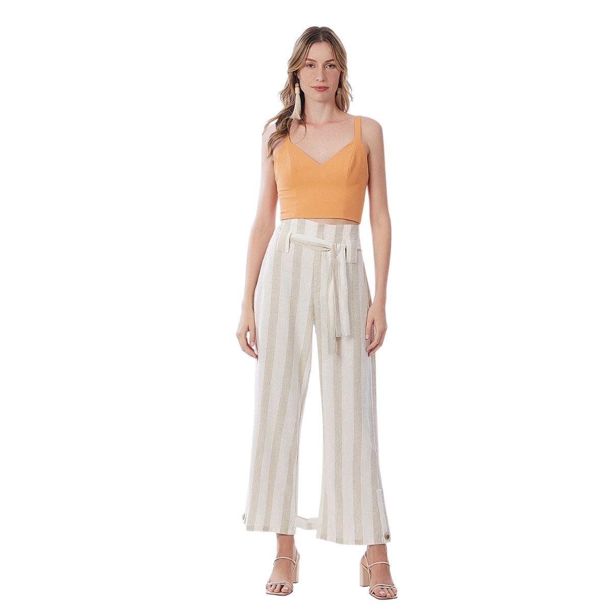 Calça Pantalona Cos Alto Com Faixa Maria Valentina