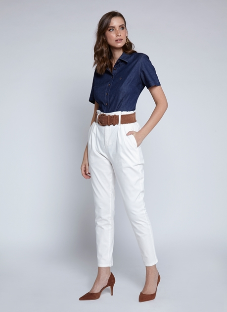 Camisa Dudalina Jeans Manga Curta Feminina Essentials