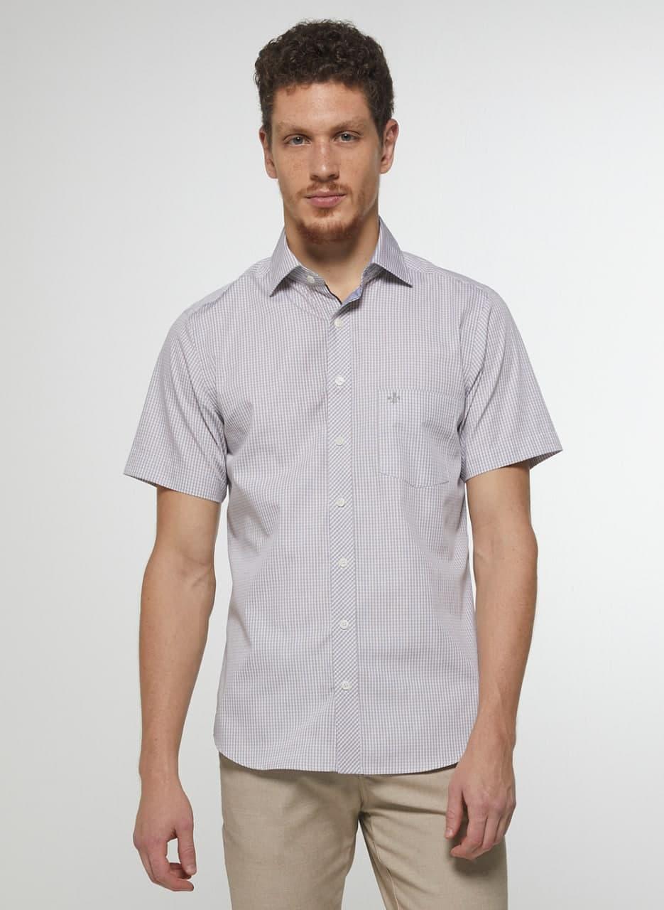Camisa Dudalina Manga Curta Fio Tinto Canclini Comfort