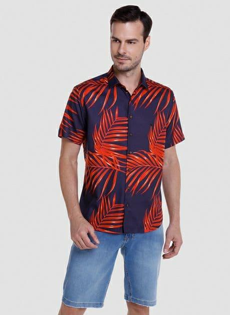 Camisa Dudalina Manga Curta Slim Estampa Folhas Orange
