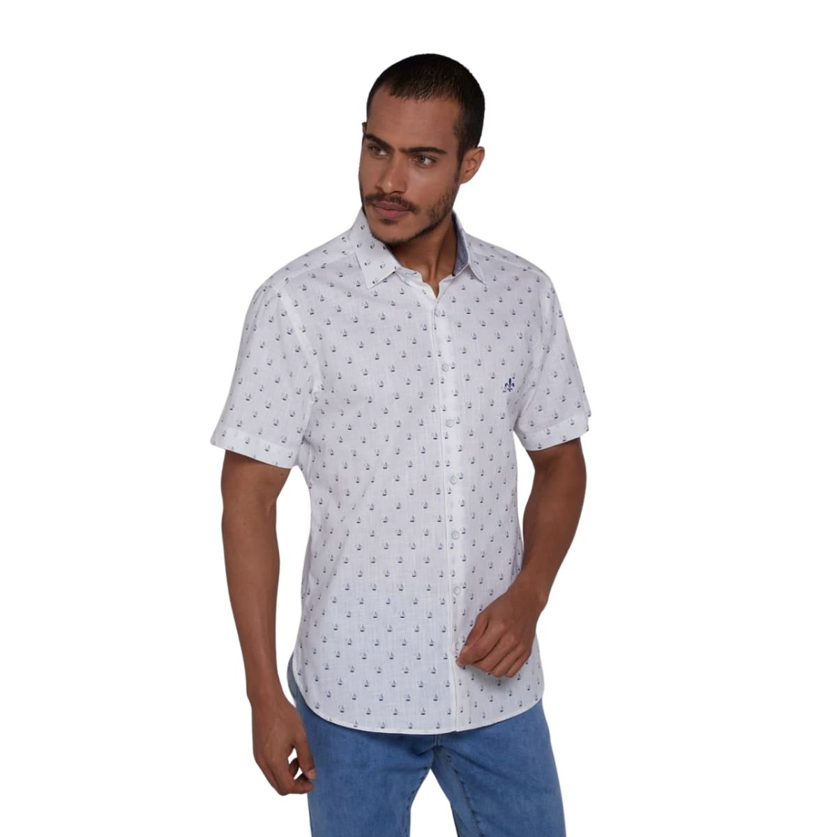 Camisa Dudalina Manga Curta Slim Print Barcos