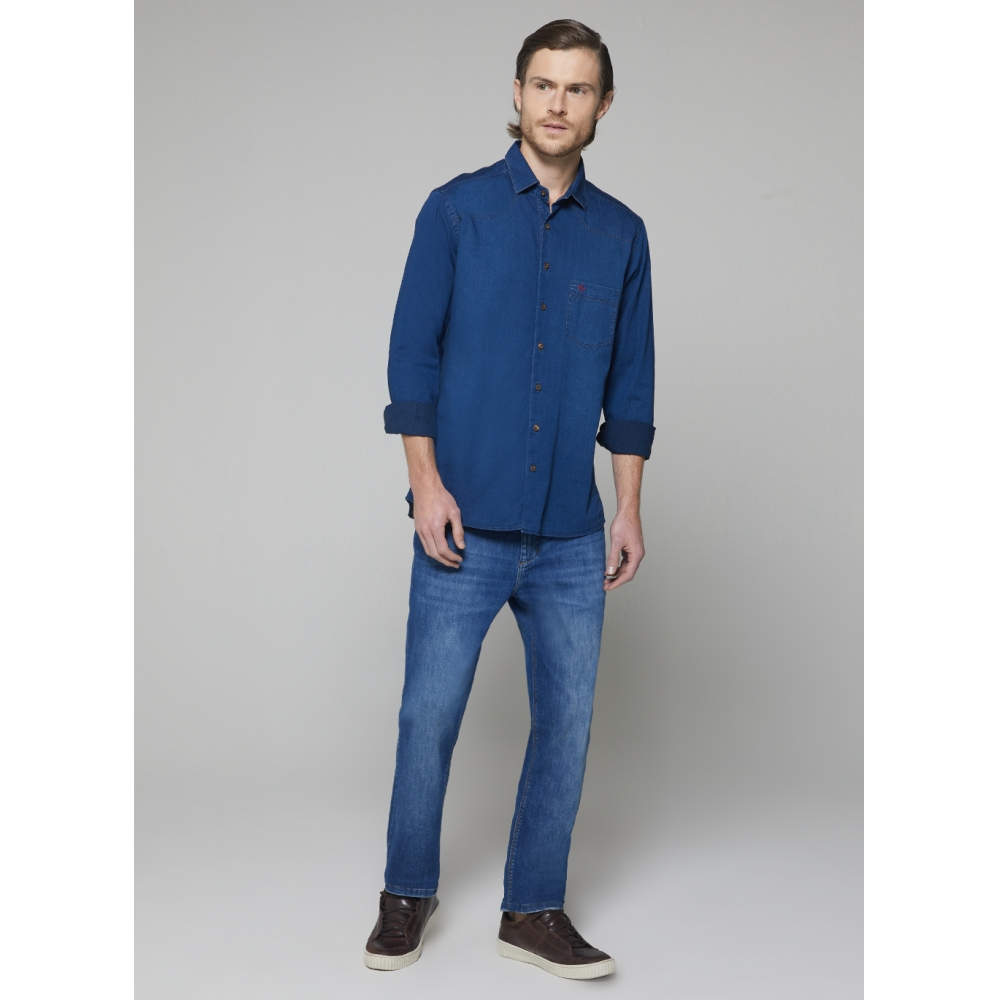 Camisa Dudalina Manga Longa Jeans Vista Lisa