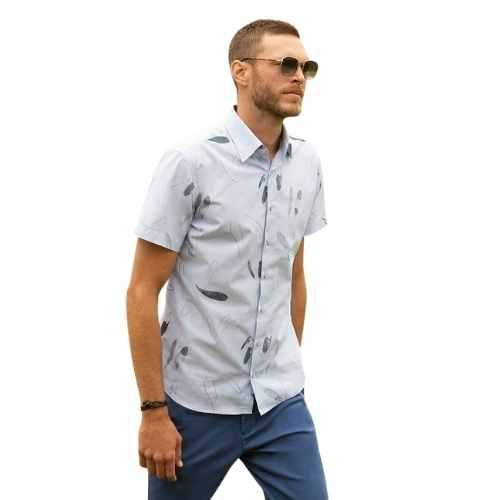 Camisa Individual Manga Curta Estampa Reticula Comfort Fit