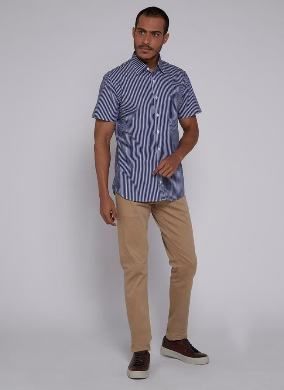 Camisa Individual Manga Curta Fio Tinto Comfort Listras