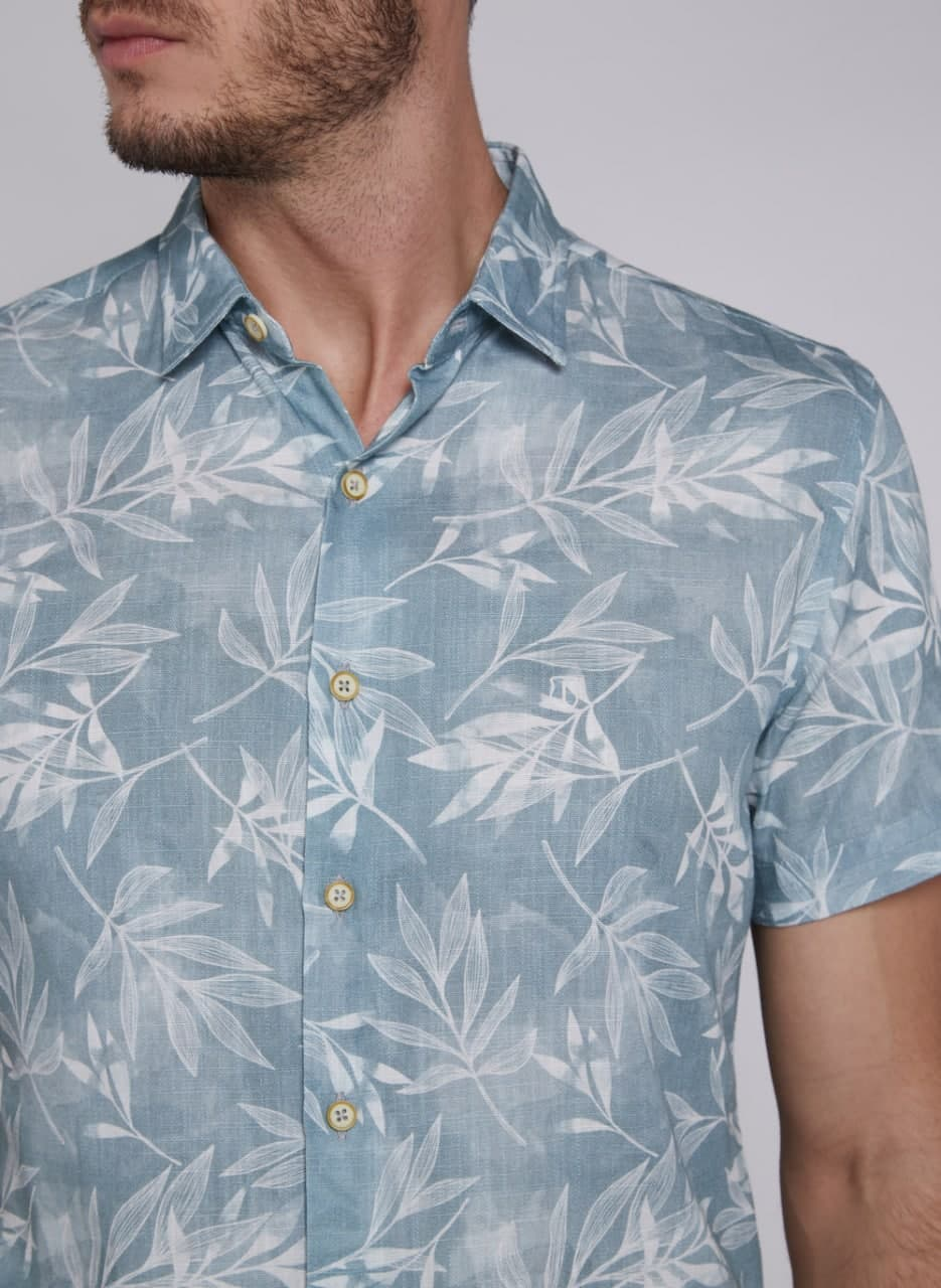 Camisa Individual Manga Curta Slim Folhas