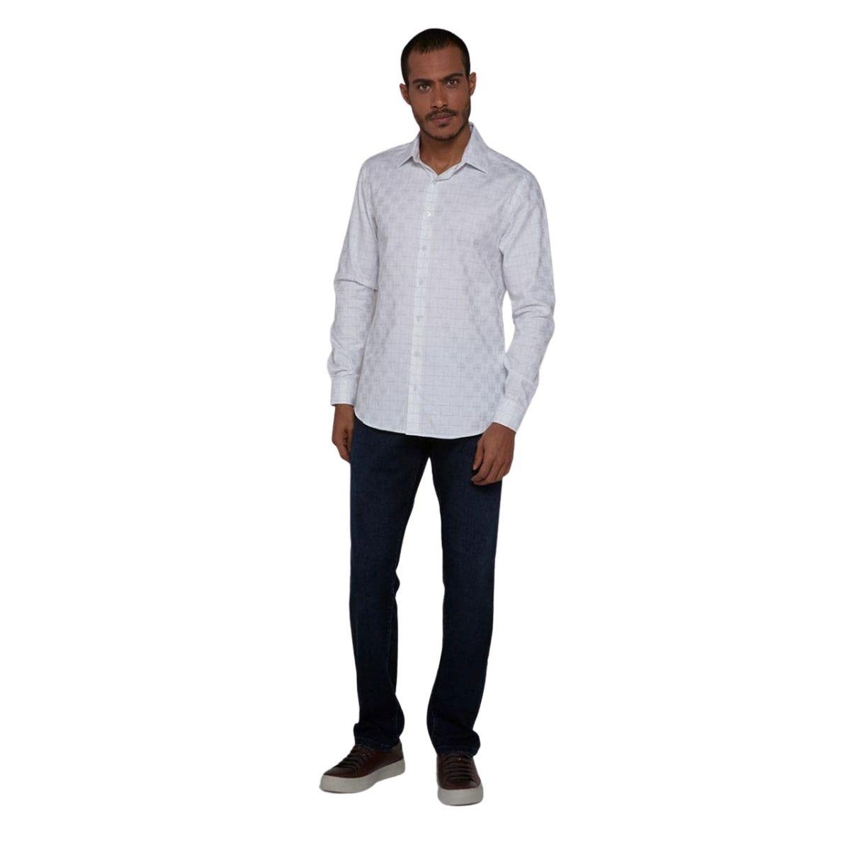Camisa Individual Manga Longa Comfort Jacquard Xadrez