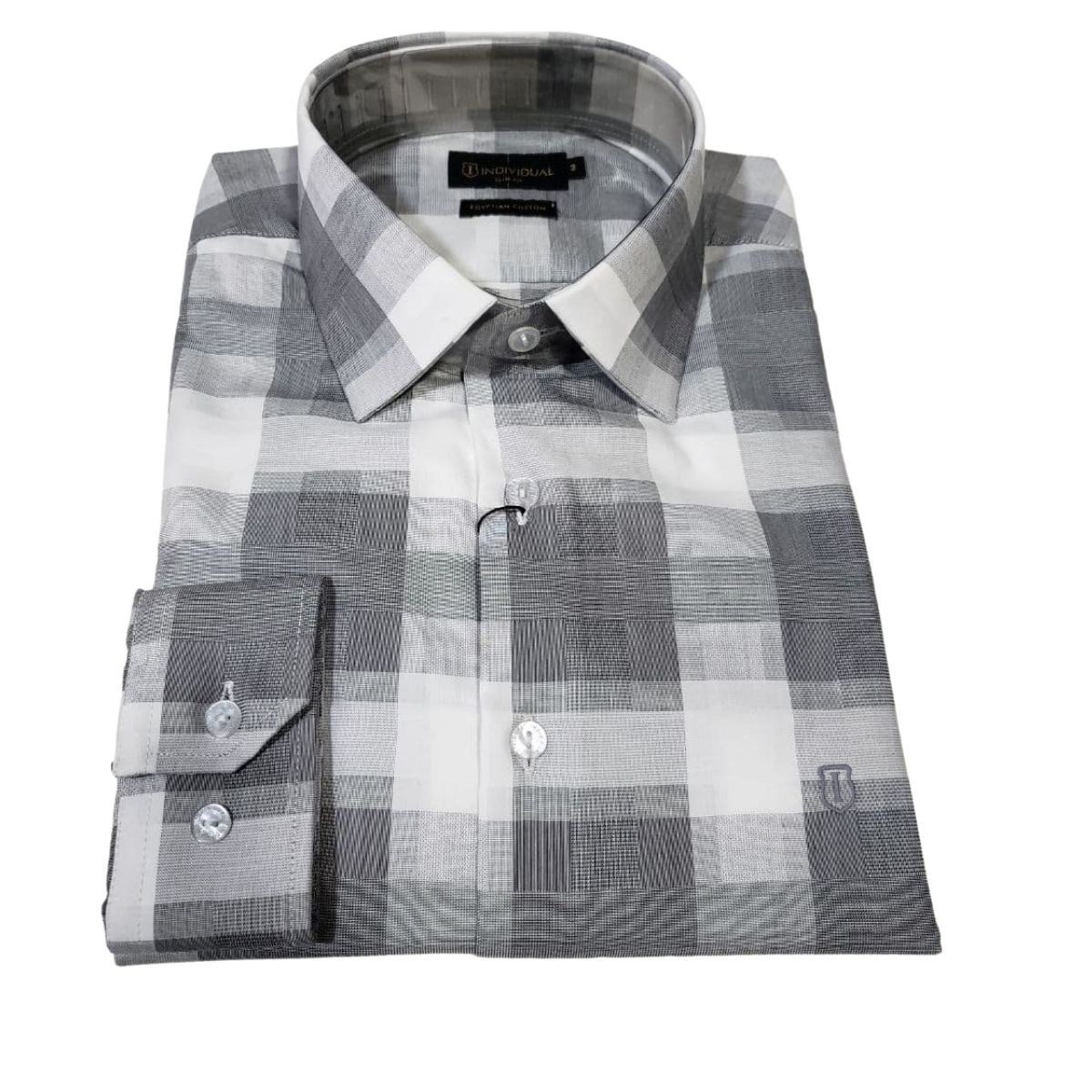 Camisa Individual Manga Longa Slim Jacquard Xadrez