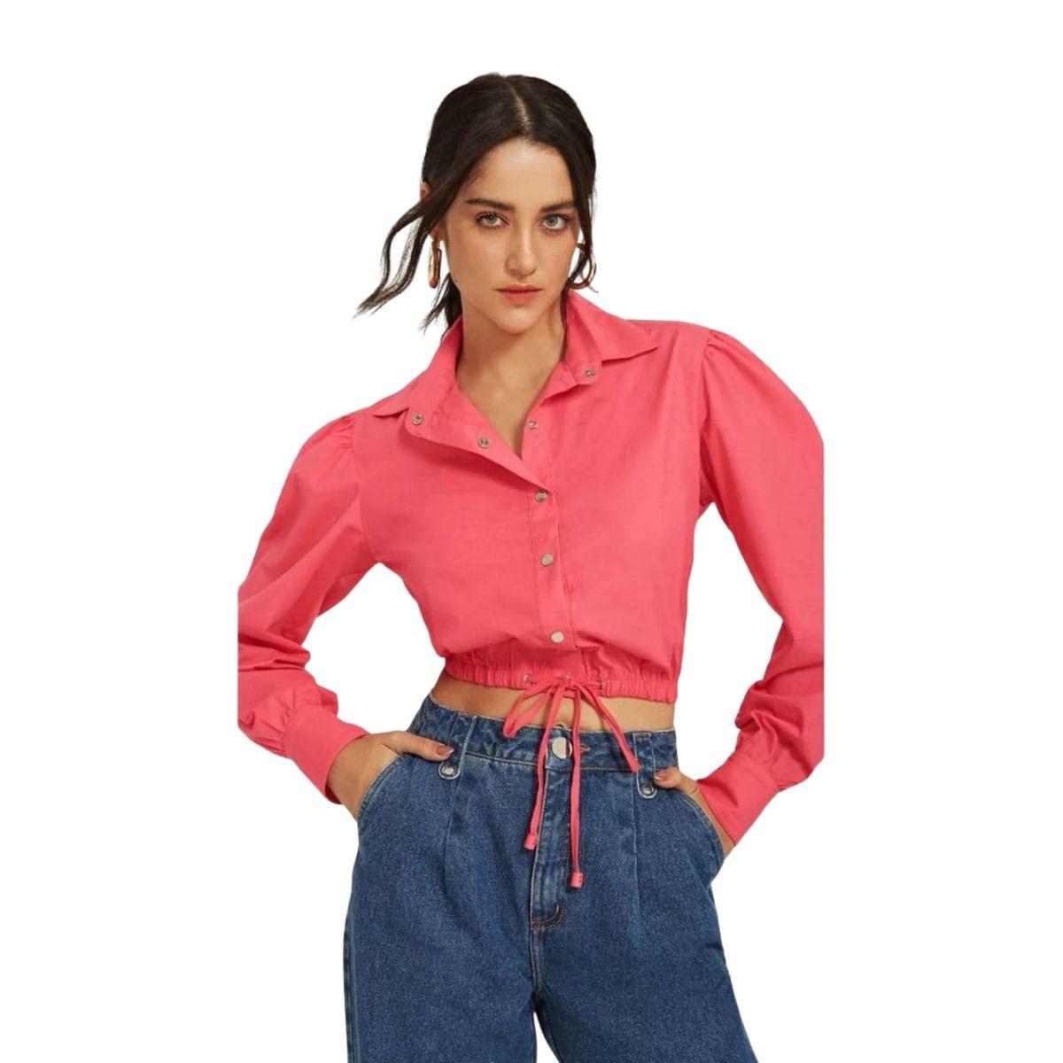 Camisa Morena Rosa Manga Longa Com Amarração