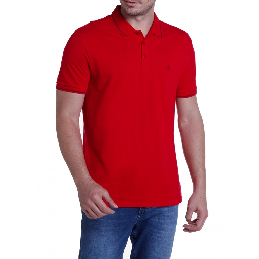 Camisa Polo Dudalina Frisos Manga Curta