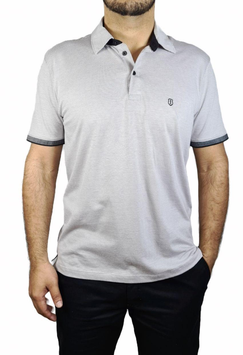 Camisa Top Polo Mc Pima Jacqaurd Listrado Individual