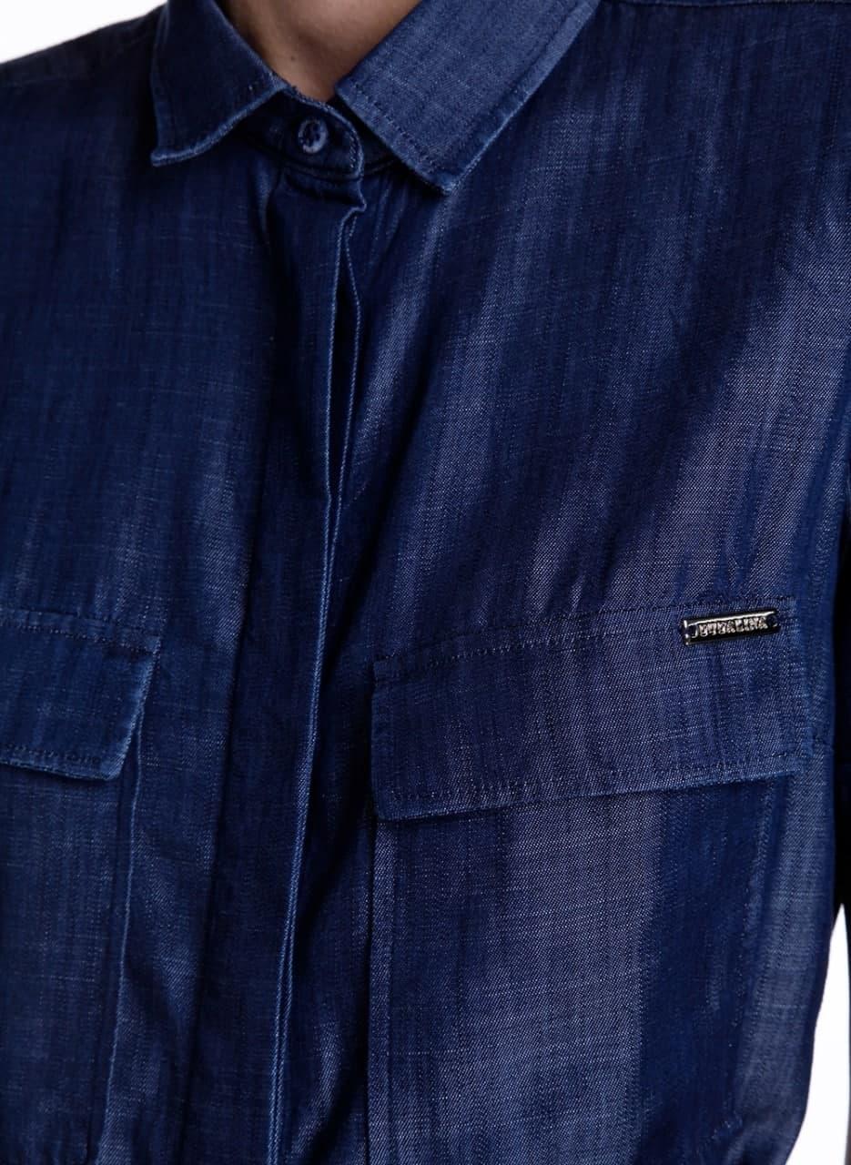Chemise Dudalina Camisa Jeans Bolso Frontal