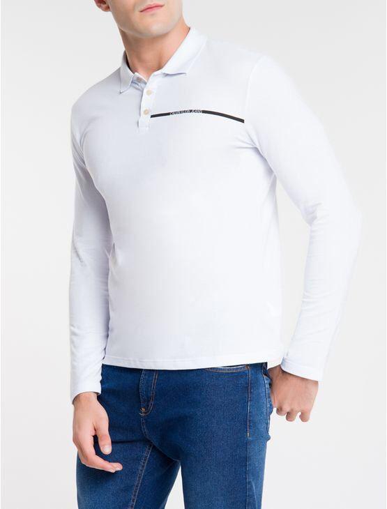 Camisa Polo Calvin Klein Manga Longa Palito No Peito