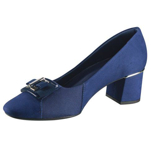 Scarpin Velour Cab New Blue Usaflex