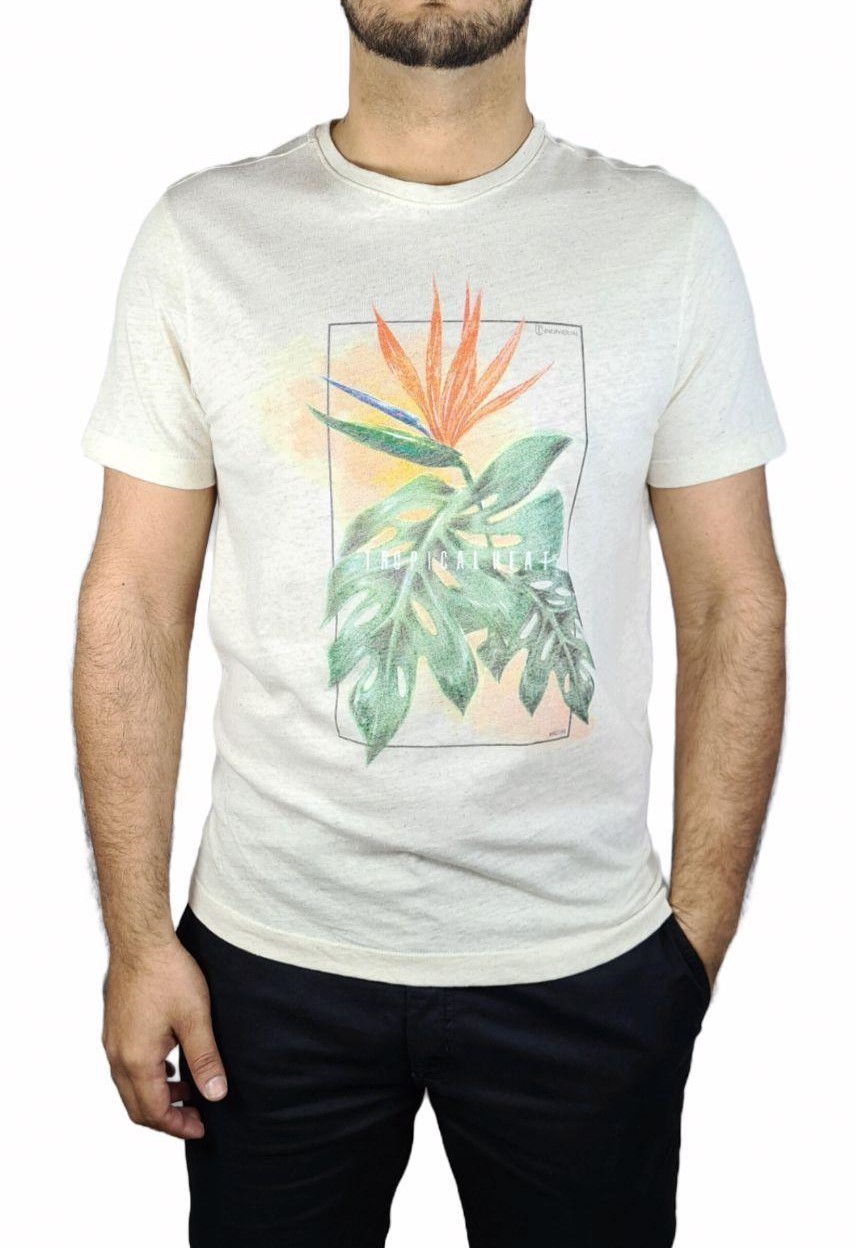 Camiseta Individual Manga Curta Estampa Tropical Heat