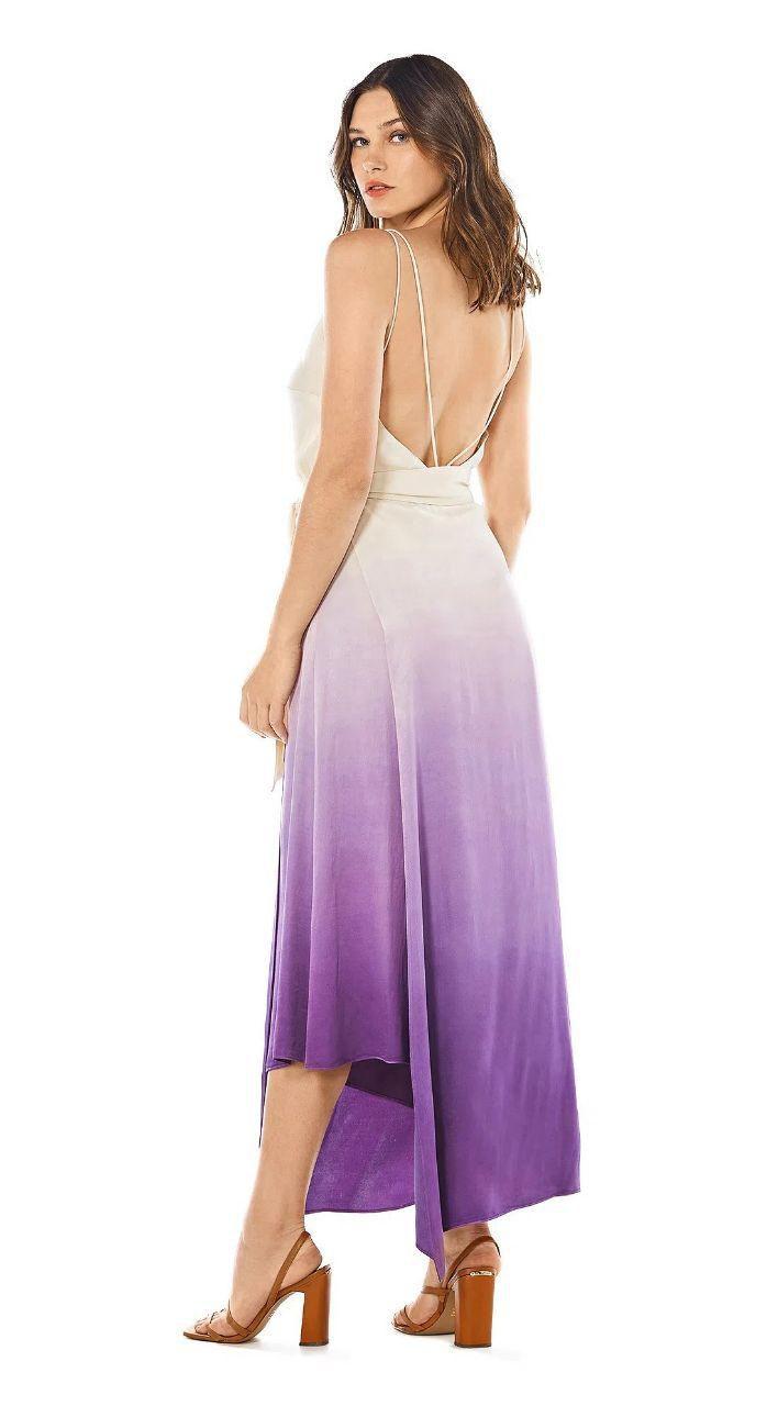 Vestido Assimetrico Decote V Com Metal Morena Rosa