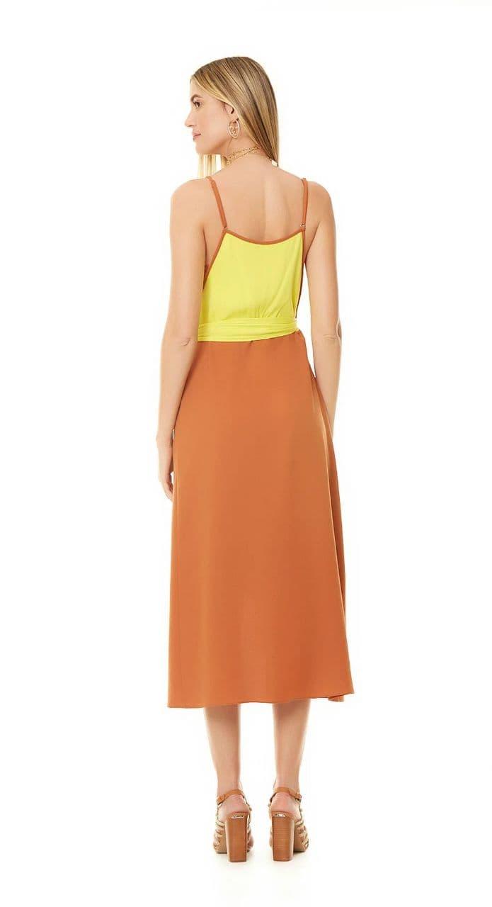 Vestido Maria Valentina Midi Decote Em V
