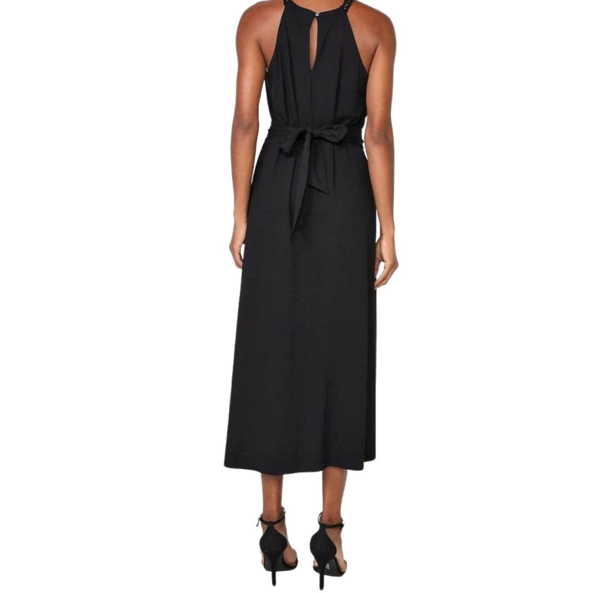 Vestido Maria Valentina Midi Decote Redondo Detalhe Mac