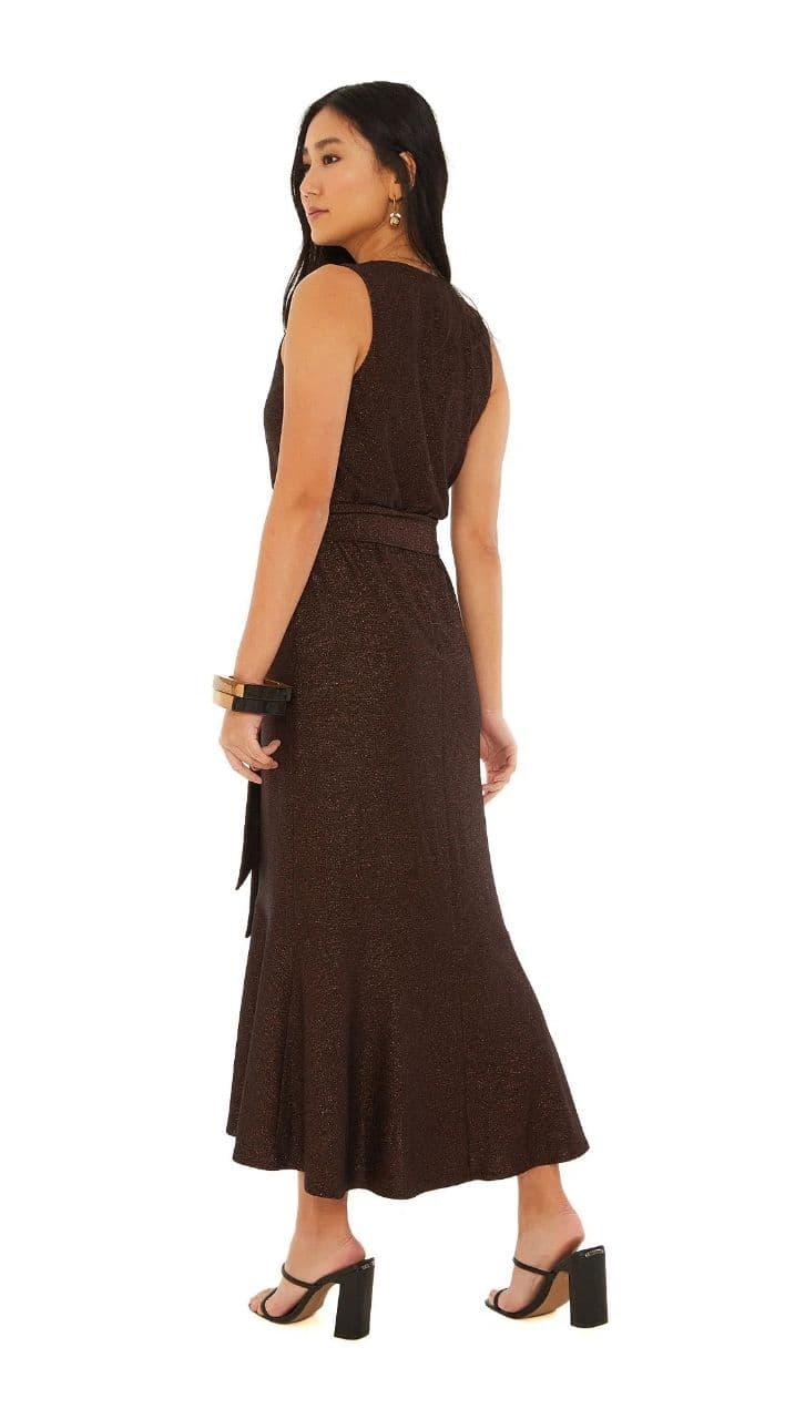 Vestido Maria Valentina Midi Decote Transpassado Fio Metalizado