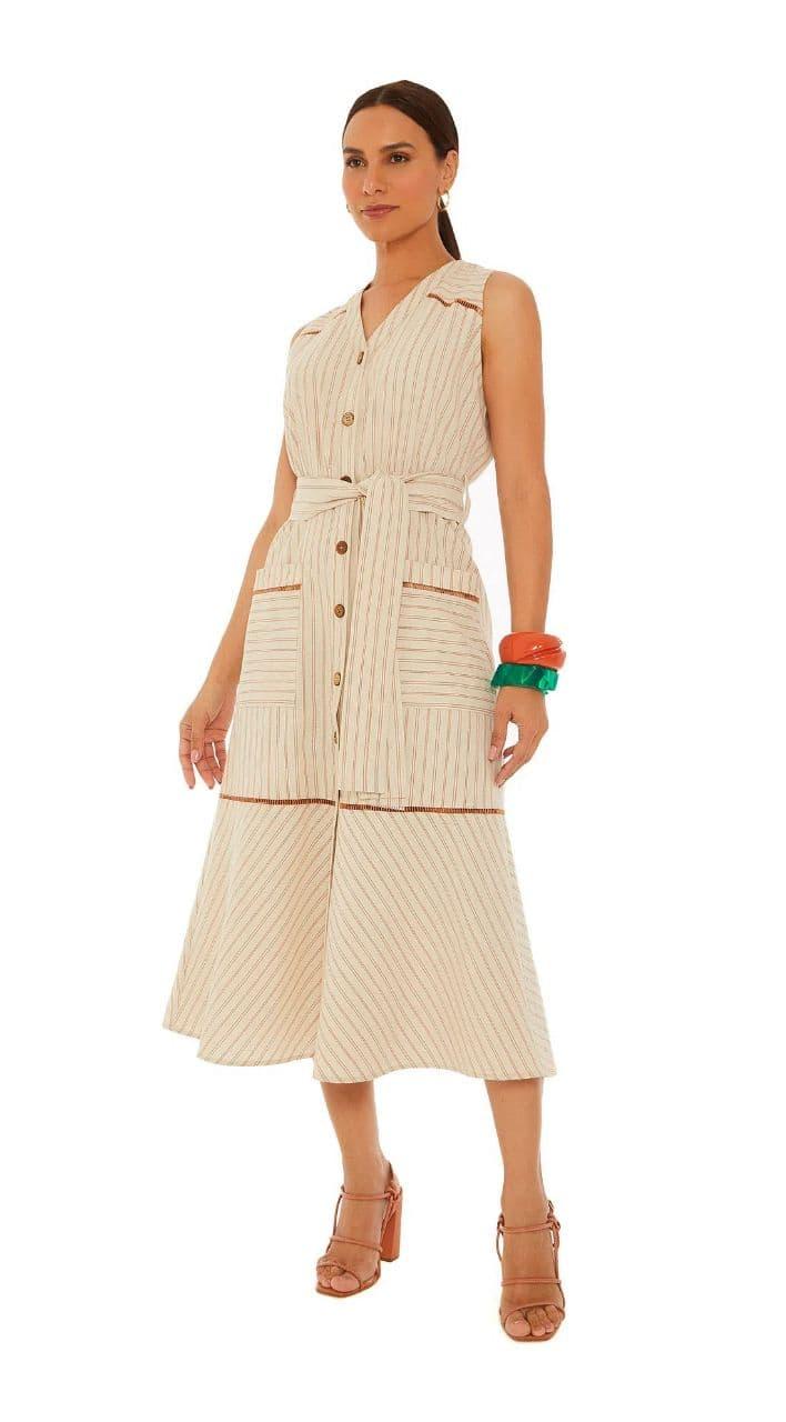 Vestido Maria Valentina Midi Decote V Com Bolso