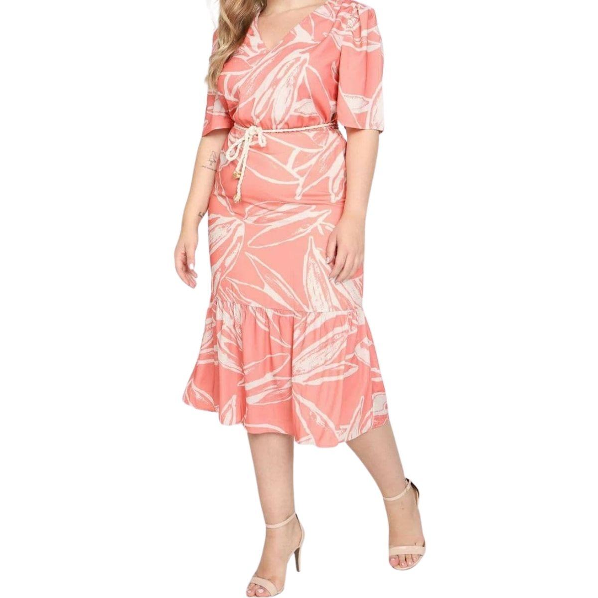 Vestido Maria Valentina Midi Decote V Com Cinto