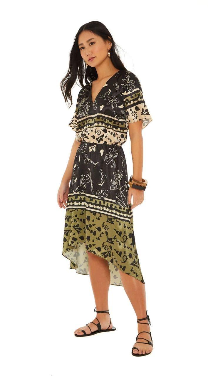 Vestido Maria Valentina Midi Decote V Com Sublimação