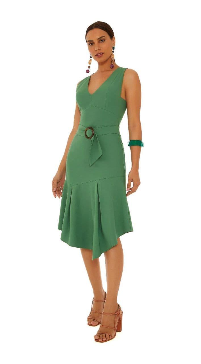 Vestido Maria Vatentina Midi Decote V Com Cinto
