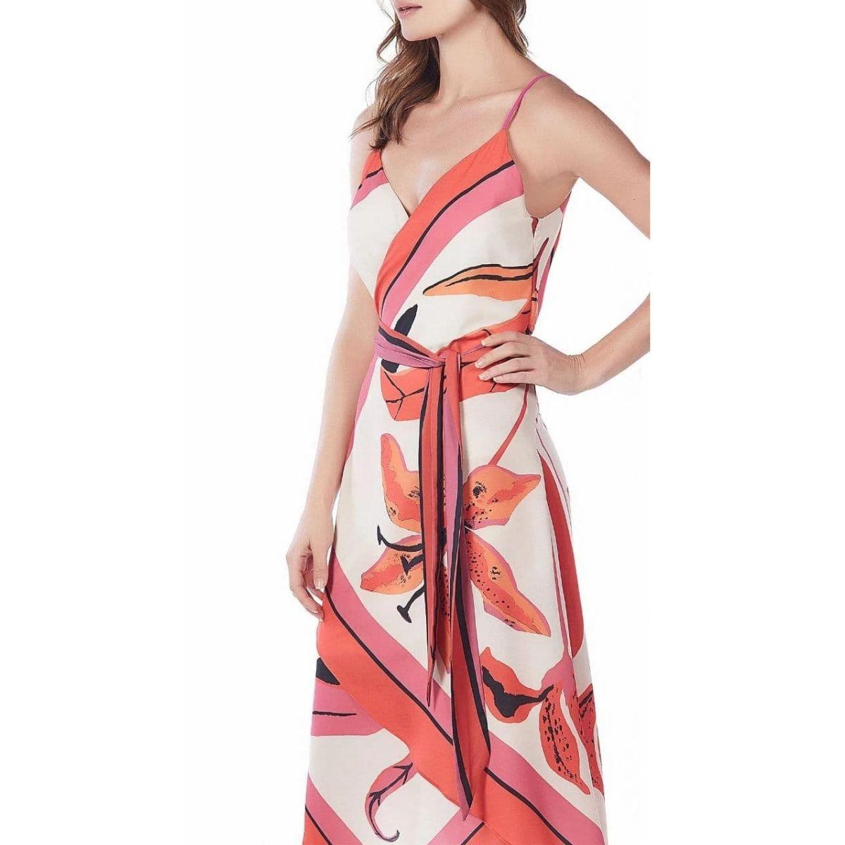 Vestido Midi Decote Transpassado Com Faixa Maria Valentina