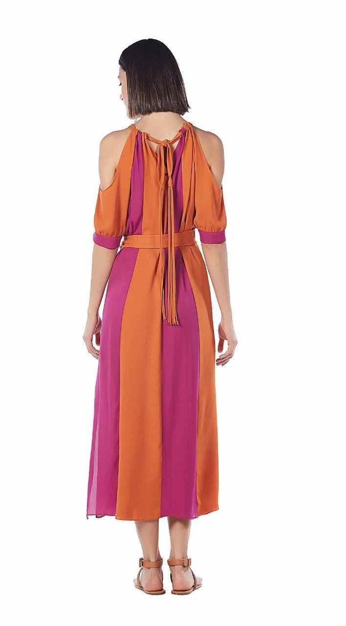 Vestido Maria Valentina Midi Decote V Duo Collor