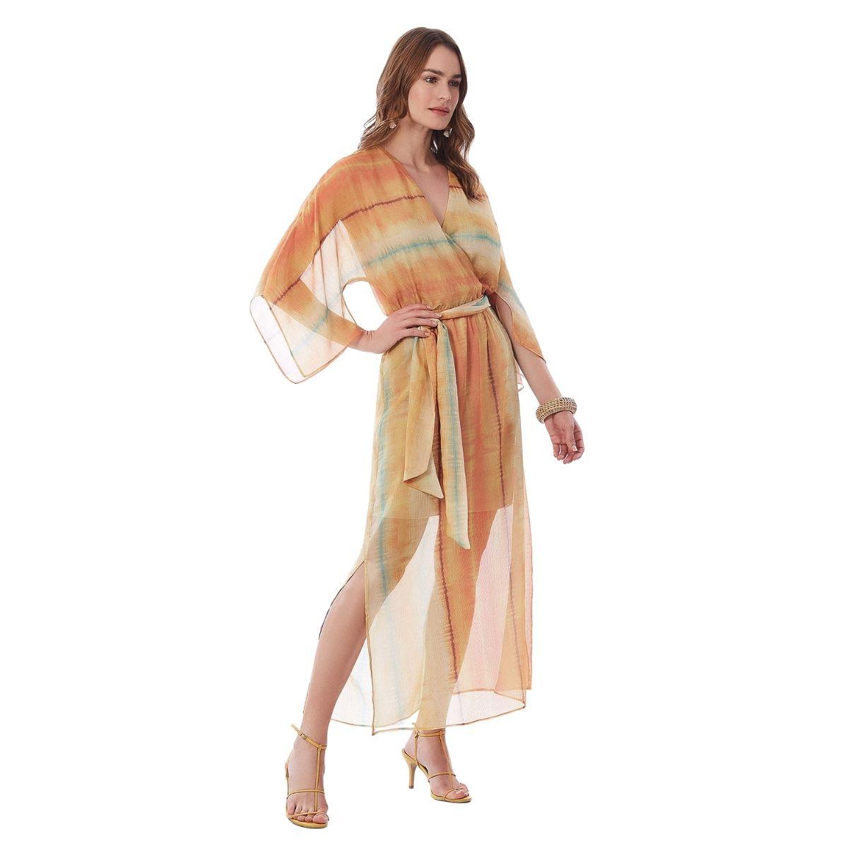Vestido Midi Maria Valentina Decote Transpassado Com Faixa