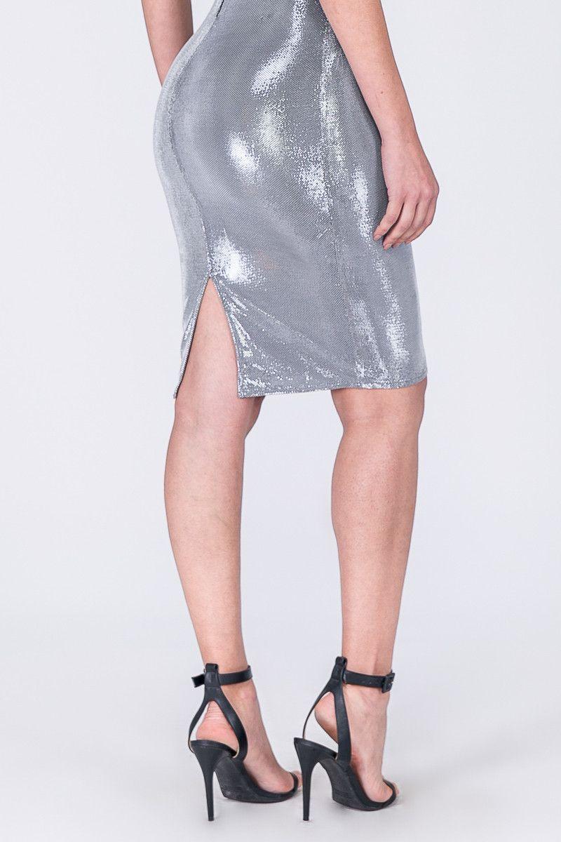 Vestido Prata Com Sutiã De Renda Dimy