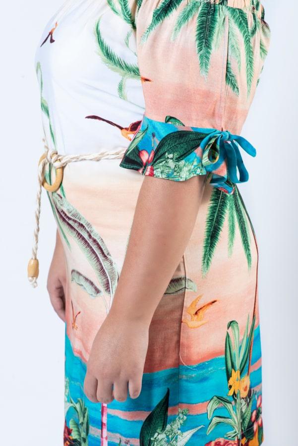 Vestido Tropical Com Cinto Argola Madeira Rery