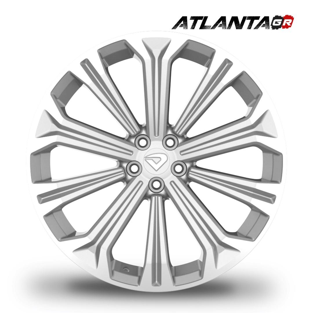 "Roda Volcano ATLANTA GR Aro 20""x7,5"" Diamantada Borda Prata Brilhante Corolla Fusion Sonata Furação 5x100mm"