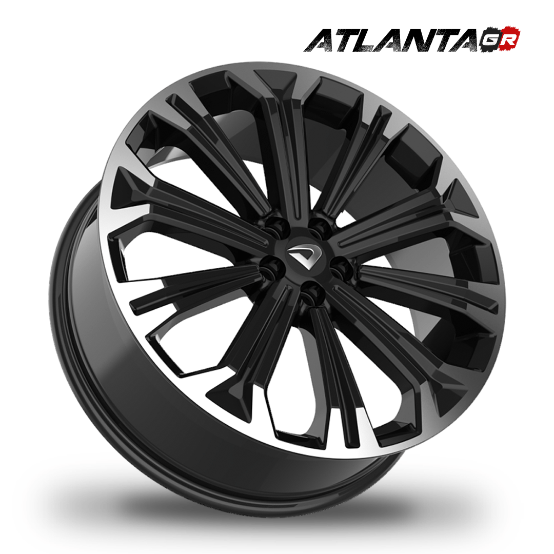 "Roda Volcano ATLANTA GR Aro 20""x7,5"" Diamantada Borda Preto Brilhante Corolla Fusion Sonata Furação 5x100 / 5x105mm"
