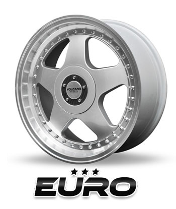 """Roda Volcano EURO 2 peças Aro 18"""" tala 8"""" Prata Brilhante Furação 4x100mm / 4x108mm"""