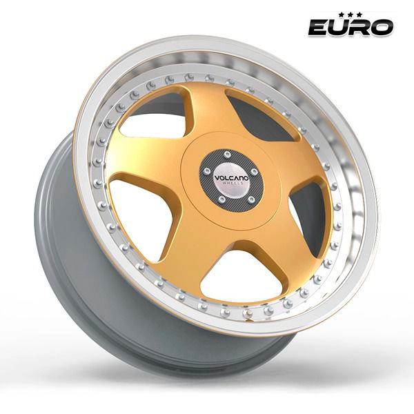 "Roda Volcano EURO Aro 17"" tala 7"" Gold Borda Diamantada"