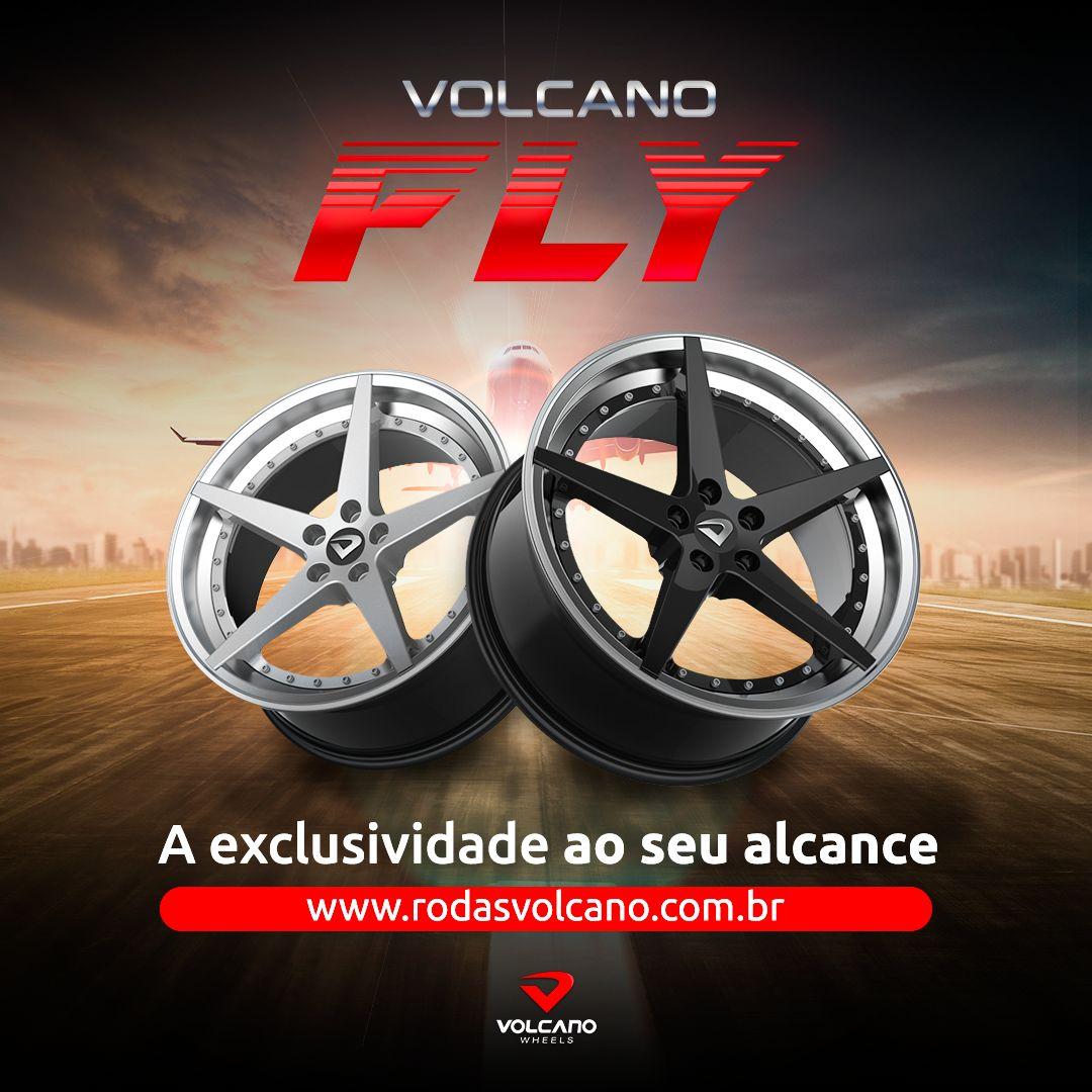 """Roda Volcano FLY Aro 18"""" tala 8"""" Preto Brilhante Furação 5x100mm"""