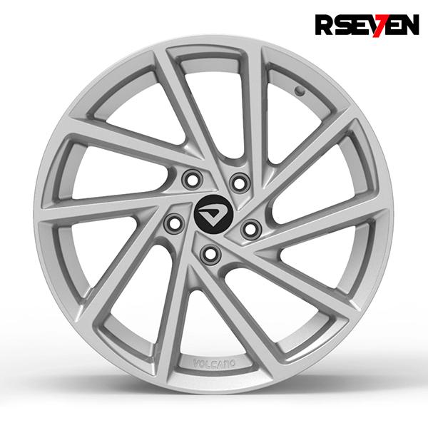 "Roda Volcano R-SEVEN Aro 18"" tala 7"" Prata - Chevrolet, VW, Ford, FIAT, Honda, Hyundai, Toyota, Nissan, KIA, Renault, PEUGEOT, Citroën"