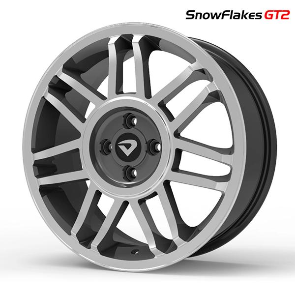"Roda Volcano SNOWFLAKES GT2 Aro 17"" tala 6"" Grafite brilhante diamantado"