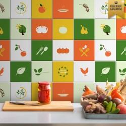 Adesivo de azulejo colorido cozinha