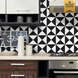 Adesivo de azulejo cozinha preto e branco geometrico