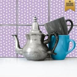 Adesivo de azulejo lilás com bolinhas brancas