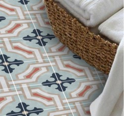 Adesivo piso de ladrilho tons de azul lavavel antiderrapante