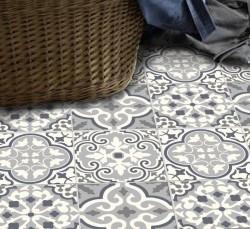 Adesivo piso ladrilho Patchwork cinza antiderrapante