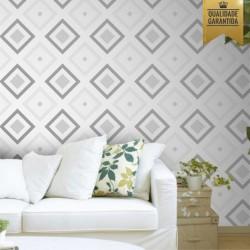 Papel de parede losangos cinza