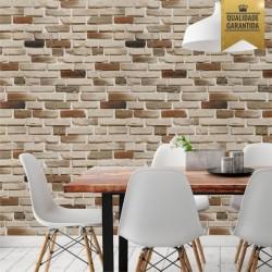 Papel de parede tijolinho claro 3D lavável