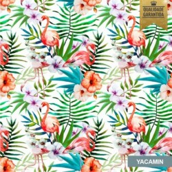 Papel de parede tropical flamingos