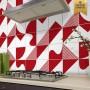 Adesivo de azulejo vermelho 2D